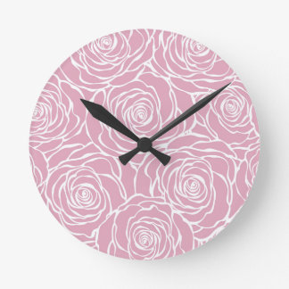 Relógio Redondo Peônias, floral, branco, cor-de-rosa, teste