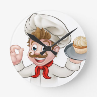 Relógio Redondo Personagem de desenho animado do bolo do