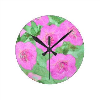 Relógio Redondo Petúnias pintados