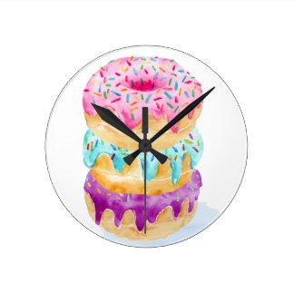 Relógio Redondo Pilha da aguarela de rosquinhas