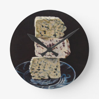 Relógio Redondo Pilha do queijo de Stilton