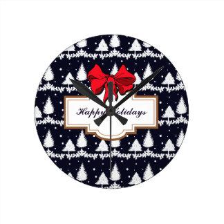 Relógio Redondo Pinheiros e neve boas festas
