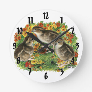 Relógio Redondo Pintinhos do jardim da codorniz