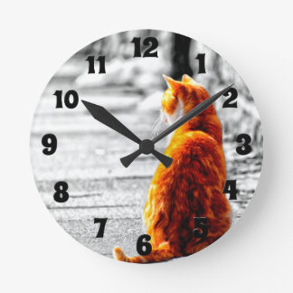 Relógio Redondo Pintura alaranjada matizada A-PAL do gato de gato