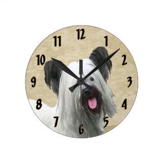 Relógio Redondo Pintura de Skye Terrier - arte original bonito do