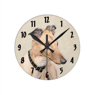 Relógio Redondo Pintura do galgo - arte original bonito do cão