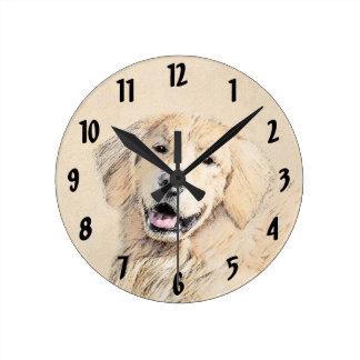 Relógio Redondo Pintura do golden retriever - arte original bonito