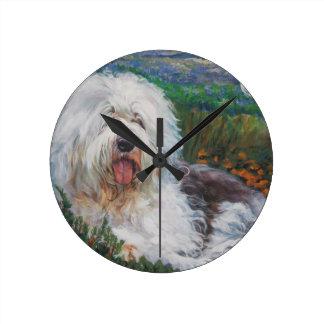Relógio Redondo Pintura inglesa velha bonita da arte do cão do
