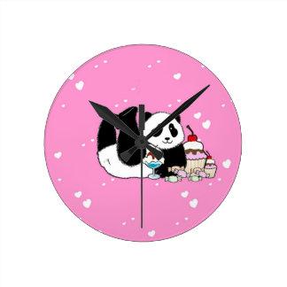 Relógio Redondo Piquenique bonito do urso de panda
