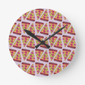 Relógio Redondo pizza floral