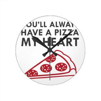 Relógio Redondo Pizza meu coração