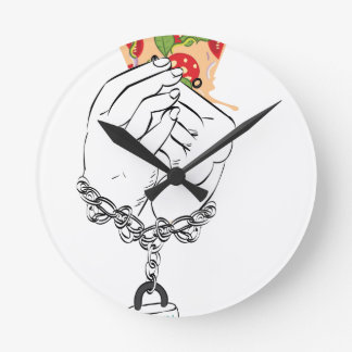 Relógio Redondo Pizza saboroso dos desenhos animados e Hands2