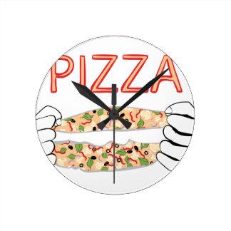 Relógio Redondo Pizza saboroso dos desenhos animados e Hands3