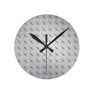 Relógio Redondo Placa de metal do diamante