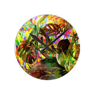 Relógio Redondo Plantas tropicais e flores