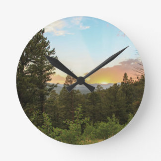 Relógio Redondo Por do sol das montanhas rochosas