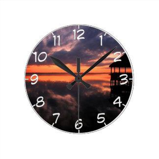 Relógio Redondo Por do sol de OBX