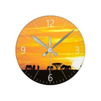 Relógio Redondo Por do sol em Serengeti