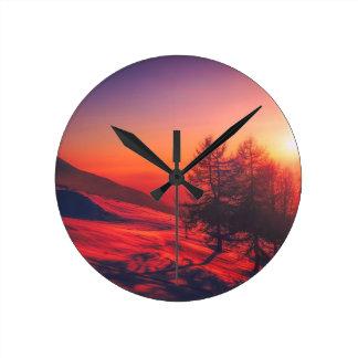 Relógio Redondo Por do sol nevado da noite
