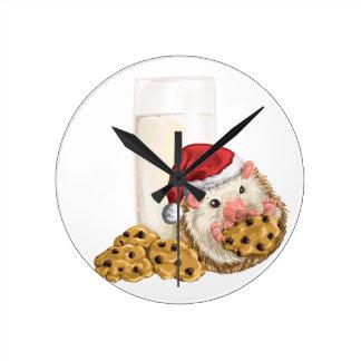 Relógio Redondo Porco do biscoito do Natal