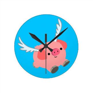 Relógio Redondo Porco voado bonito dos desenhos animados