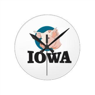 Relógio Redondo porcos de iowa