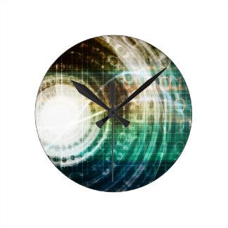 Relógio Redondo Portal futurista da tecnologia com Digitas