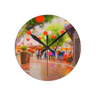 Relógio Redondo Pouca pintura japonesa da vila de Tokyo