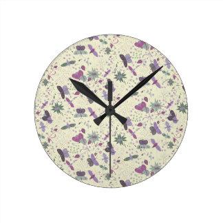 Relógio Redondo prado da borboleta