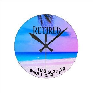 Relógio Redondo Praia tropical aposentada -