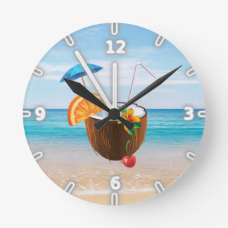 Relógio Redondo Praia tropical, céu azul, areia do oceano, coco