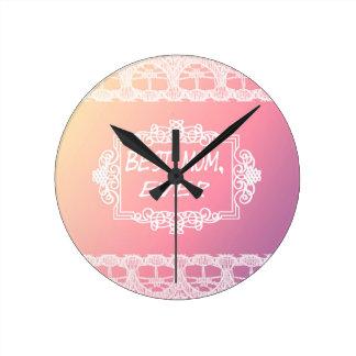 Relógio Redondo Presente Pastel do dia das mães do melhor rosa da