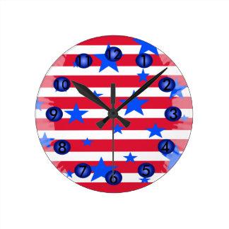 Relógio Redondo Presentes patrióticos dos EUA das listras brancas