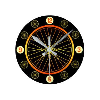 Relógio Redondo Preto alaranjado da roda de bicicleta