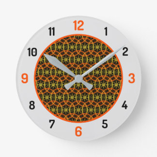 Relógio Redondo Preto alaranjado do teste padrão da roda de