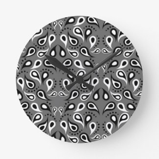 Relógio Redondo Preto do impressão do design do teste padrão de