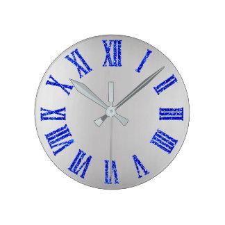 Relógio Redondo Preto mínimo de prata cinzento de BlueGlitter