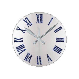 Relógio Redondo Preto mínimo de prata cinzento de Ombre do brilho
