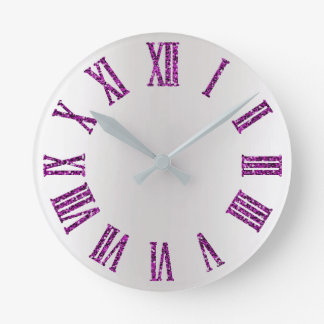 Relógio Redondo Preto mínimo de prata cinzento de Ombre do rosa