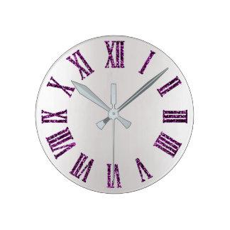 Relógio Redondo Preto mínimo de prata cinzento roxo de Ombre da