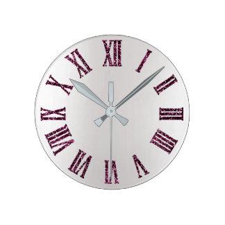Relógio Redondo Preto mínimo de prata cinzento roxo de Ombre do