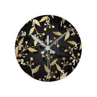 Relógio Redondo Preto & ramos rústicos modernos botânicos do ouro