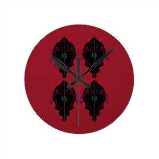 Relógio Redondo Preto vermelho dos ornamento luxuosos