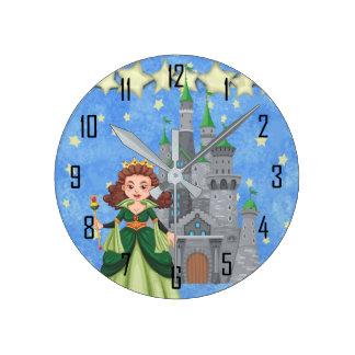 Relógio Redondo Princesa do livro de histórias no verde com