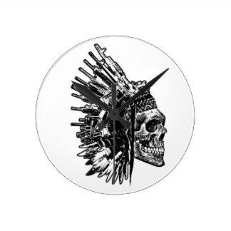Relógio Redondo Produtos tribais do crânio, das armas e das facas