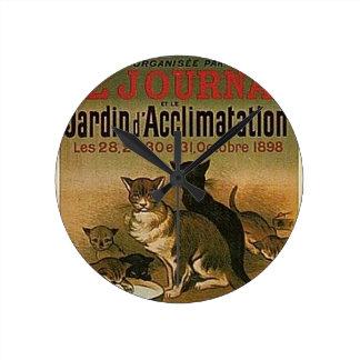 Relógio Redondo Propaganda francesa do vintage - gatos