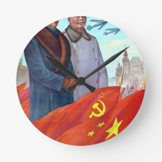 Relógio Redondo Propaganda original Mao Zedong e Josef Stalin