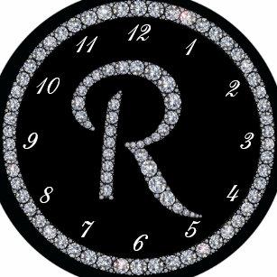 b97062d9a96 Relógio Redondo Pulso de disparo bling do anel do monograma de R
