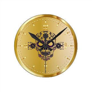 Relógio Redondo Pulso de disparo brilhante do crânio do açúcar do
