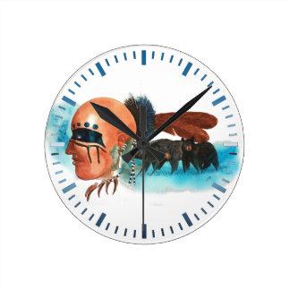 Relógio Redondo Pulso de disparo das belas artes do clã do urso